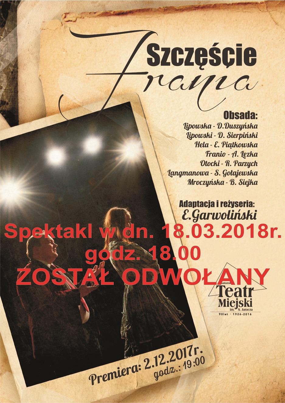 plakat odwolany szczescia frania